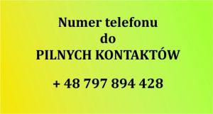 numer telefonu do pilnych kontaktów